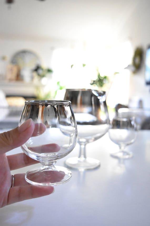 mad men ombre silver stemware cocktail glasses / set of 3