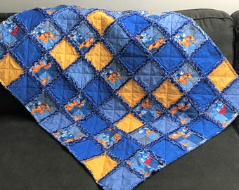 Scooby Doo Baseball Baby Rag Quilt Handmade One Of A Kind Baby Rag Quilt Baby Crib Nursery Shabby Chic Quilt  2