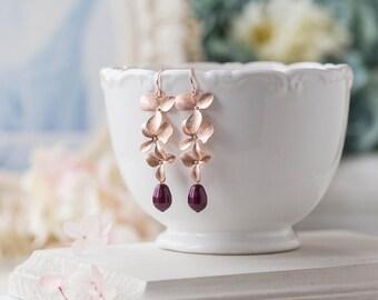 Burgundy Plum Maroon Wedding Bridal Earrings, Rose Gold Cascading Flower Dangle Earrings, Bridesmaid Gift, Teardrop Pearl Dangle Earrings