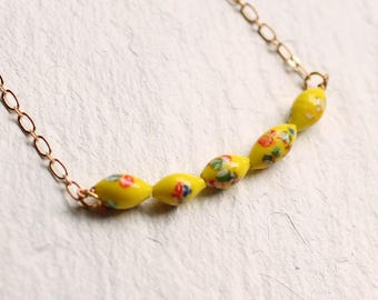 Lemon Yellow Necklace ... Vintage Japanese Beads Glass Neon