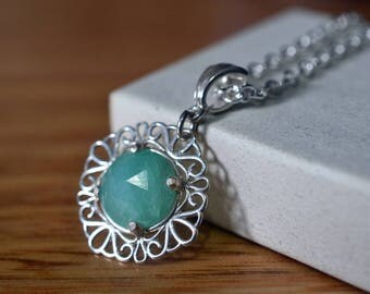 Peruvian Opal Pendant, Natural Green Blue Opal Necklace, 4 Chain Choices, Sterling Silver Filigree Necklace, Elegant Bridal Wedding Jewelry