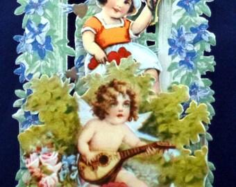 Vintage Victorian Honeycomb 3D Stand Up Valentine Card, 1920s