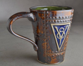 Sheet Metal Mug Ready To Ship V8 Rust Sheet Metal Stoneware Mug by Symmetrical Pottery