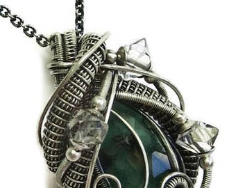 Natural Emerald Wire-Wrapped Pendant Necklace in Tarnish-Resistant Antiqued Sterling Silver with Herkimer Diamonds