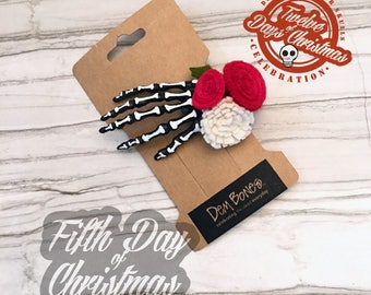 On the fifth day of Christmas - five bony fingers // DemBones // skelly clips // secret santa // skull gifts