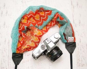 Scarf Camera Strap - Camera Straps - Camera Accessories - DSLR Camera Strap - Canon - Nikon - Photographer Gift - Teal & Tangerine Scarf