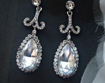 Wedding earrings crystal earrings bridal drop earrings bridal crystal earrings rhinestone earrings bridal jewelry bridesmaid earrings set