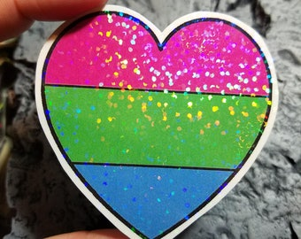 Holographic Sticker - Polysexual flag heart