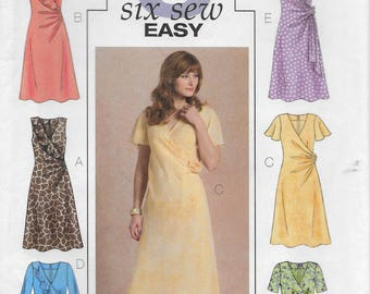 Butterick 4723 Misses Bias Mock Wrap Dress Sewing Pattern Size 8 to 14 Bust 31 1/2 to 36