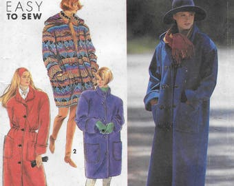 Simplicity 7457 Misses 90s Lined Coat in Two Lengths with Detachable Hood Sewing Pattern Size 6 to 24.  Bust 30 1/2 to 46.