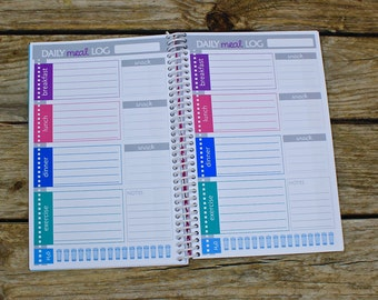 JOURNAL - Health journal - diet tracker - food planner-   126 daily pages - notes pages - calendar - more!