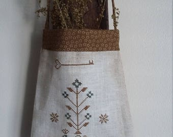 """primitive stitch Peacock sampler 7"""" ditty bag gathering pouch early pocket"""