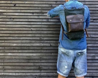 Wax Canvas Backpack small size / Hipster Backpack with zipper top and waxed leather outside pocket