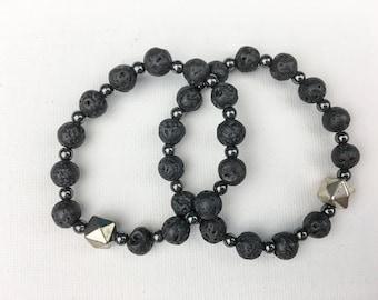 mens beaded bracelet spike bracelet lava bead bracelet stacking bracelet unisex bracelet mens bracelet gift for him | Rolf stretch bracelet
