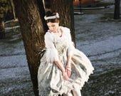 MARIE EMBROIDERED DRESS lolita jsk floral print birds fauna flora handmade plus size classic bridal wedding sleeveless lace ivory teal peach