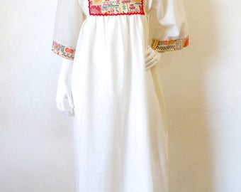 1970s Embroidered Bell Sleeve Maxi Gown