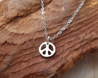 Peace Sign Necklace, Peace Sign Charm Necklace, Sterling Silver Peace Sign Necklace, Sterling Silver Peace Sign Charm Necklace, Peace Sign
