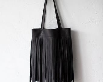 Simple Black Bag With Fringe Leather  No.Tl- 6024