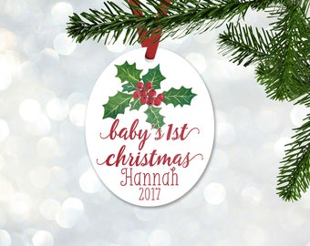 Personalized First Christmas Ornament, Baby Girl Keepsake Ornament, Baby's 1st Christmas, Mistletoe Floral Bouquet, Christmas Gift (011)