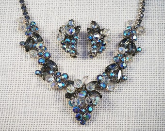 Juliana DeLizza & Elster Grey and Aurora Borealis Rhinestone and Crystal Dangle Necklace and Earrings Set