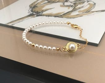 Gold Pearl Bracelet with Pearl Charm