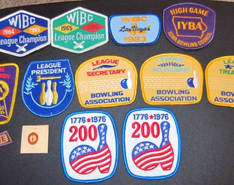 Vintage Bowling Patches/Bowling Pin  From 60's, 70's & 80's