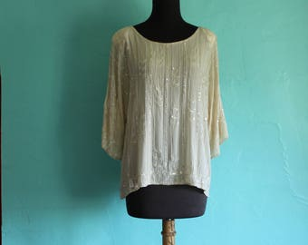 Gorgeous heavily beaded Vintage Silk Shift Blouse - Size L