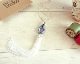 White Tassel Necklace - Blue Fabric Necklace - Liberty Print Jewelry - Long Tassel Necklace - Gift for Sister - Statement Tassel Jewelry