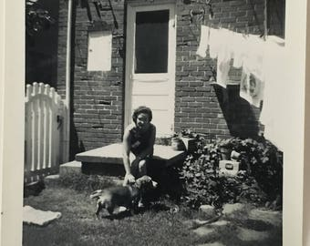 "Vintage Photo ""Laundry Day and Pups"" Snapshot Antique Black & White Photograph Paper Found Ephemera Vernacular Interior Design Mood - 56"