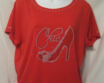 Red Short Sleeve Scoop Neck T-Shirt with a Red and Silver Hi Heel and Chic