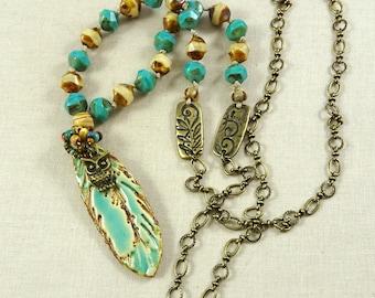 Ceramic Feather Pendant Necklace, Turquoise Necklace, Boho Long Necklace, Artisan Feather Pendant, Turquoise Feather Necklace