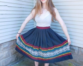 1950's Embroidered Guatemalan Skirt, Hand Woven Folk Art Skirt, XS