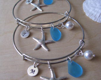 Sea Glass Jewelry Bridal Party Gift Custom Bracelet Blue Personalized Starfish Bangle Beach Glass Beach Wedding Gift Blue Bridesmaid Jewelry