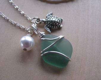 Real Sea Glass Necklace with a Sea Turtle Charm and Swarovski pearl