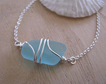 Turquoise Real Sea Glass Sterling Silver Aqua Blue Wire Wrapped Bracelet in Teal Green Genuine Beach Glass Bridesmaid Bracelet Beach Wedding