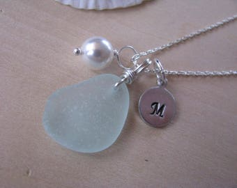 Soft Green Beach Glass Necklace with stamped letter and glass pearl Sea Glass Jewelry personalized Necklace in Aqua Sea Foam Green
