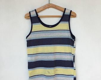 Vintage 70s Striped Thin Surfer Tank Top Shirt M