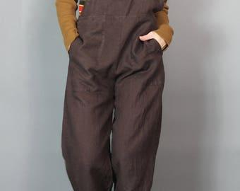 Flax Brown Linen Overalls Vintage Comfy Baggy Petite Lagenlook Overall Jumpsuit