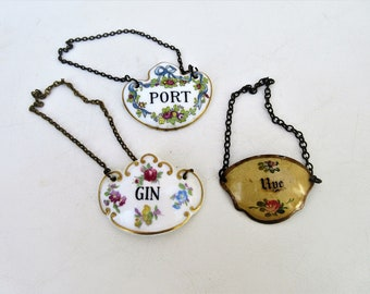 Vintage Decanter Tags | Liquor Bottle Charms | Bone China Bottle Charms | Enamel Charm | Port Gin Rye Hanging Signs