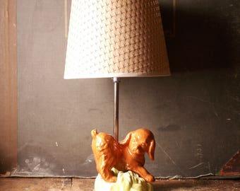 Vintage Porcelain Brown Puppy Dog Figural Table Lamp - Great Retro Nursery Decor