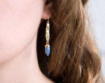 Blue Opal Drop Earrings, Hammered Earrings Dangle, Gold Hammered Bar, Gemstone Spike Earrings, Edgy Earrings, Best Friend Gift, Trendy Gifts