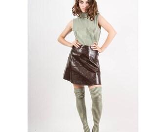 Vintage mock neck top and thigh high socks set / 1960s Mod argyle print sleeveless shirt and matching stockings M