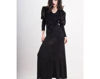 Vintage black goth maxi dress / 1980s 1990s Slinky jersey burnout velvet gown / Puff Juliet sleeves / Witchy Woman / S M