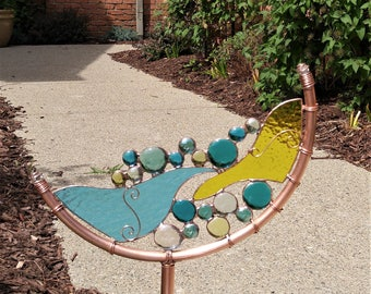 Stained glass abstract Crescent garden art stake copper yard patio decoration one of a kind