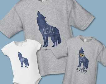 Father's Day Gift, Boho Watercolor Wolf, Alpha, Beta, Pup, Create Your own Set (Buy 1, 2, or more), Father, Mother, Daughter, Son, Baby Gift