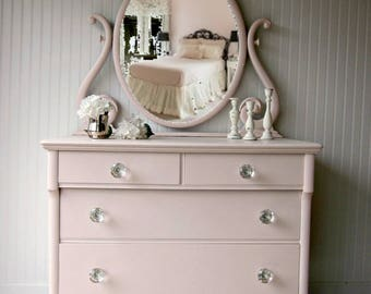 SHIPPING isn't Included~Blush Pink Dresser with Swivel Mirror and Large Glass Knobs