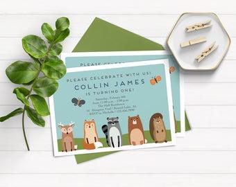 Woodland Birthday Invitations, Woodland Animal First Birthday Invitations, Forest Birthday Invitation, Boy Birthday Invitations