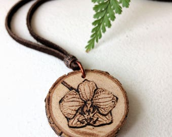 Wood Flower Necklace, Natural Wood Jewelry, Orchid Wood Slice, Boho, Wood Burning Art, Adjustable Leather, Copper Wrapped, Handmade