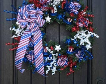 Summer Wreath-July Fourth-Memorial Day-Patriotic-Door Wreath Decor-Stars and Stripes-Flag Ribbon-Indoor/Outdoor Decoration