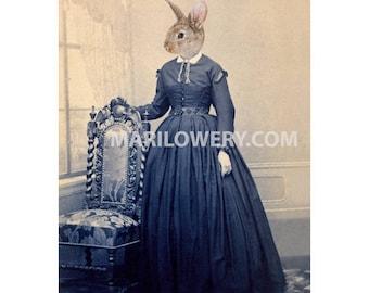 Rabbit Wall Art, 5x7 Inch Print, Victorian Animal, Weird Easter Art, Animals in Clothes Portrait, Collage Print, frighten